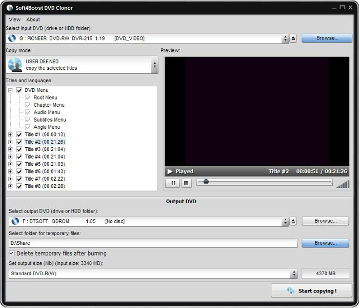 Copy DVDs/CDs, create DVD discs for DVD Players and write data with DVD Cloner