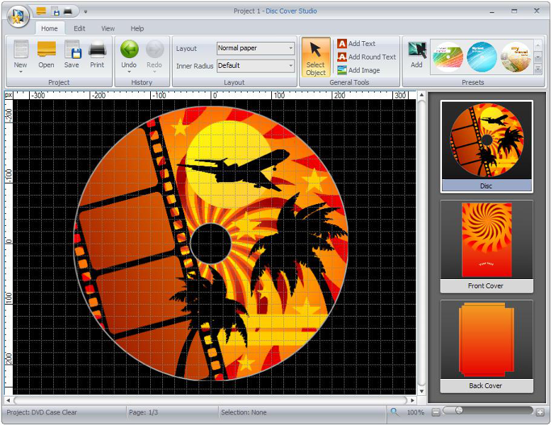 Click to view Disc Cover Studio 6.2.3.377 screenshot