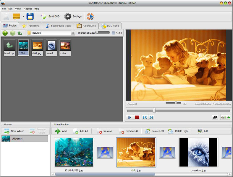 Create slideshows and digital albums with a further burning onto DVD discs!