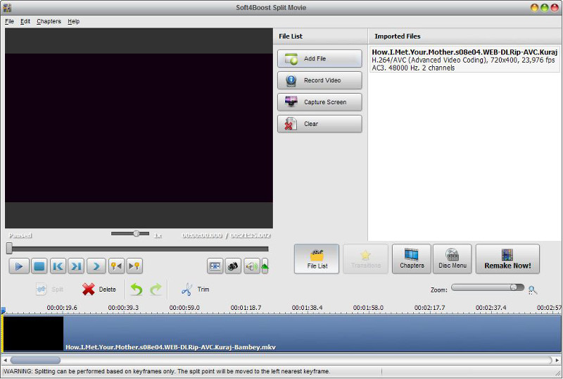 Edit your video files fast and lossless with Soft4Boost Spit Movie! reliable Screen Shot