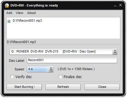 Click to view Easy Disc Burner 6.0.9.115 screenshot