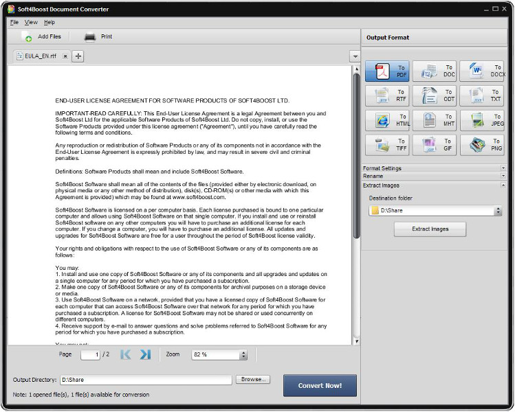 Soft4Boost Document Converter is an easy-to-use software application designed to view and convert various types of documents. It reads text files and converts them to PDF, DOC, DOCX, RTF, TXT, ODT, HTML, JPEG, TIFF and other formats.