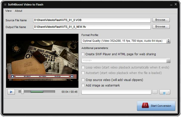 Convertire i file video o DVD al formato flash e posizionare la pagina web.